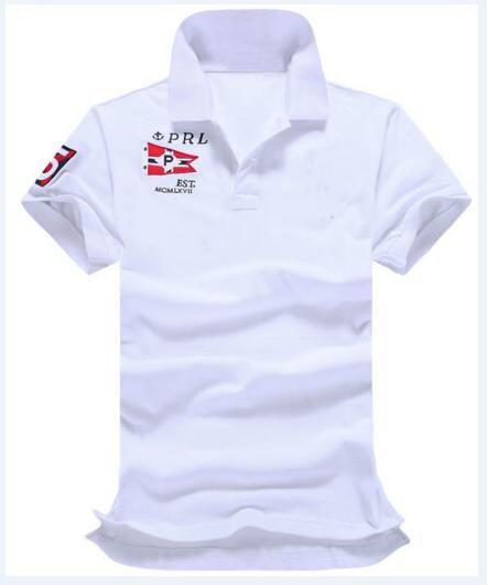 Primavera Estate Uomo Casual Solid Polo Big Horse ricamo 100% cotone manica corta Classic Polo Slim Fit Tshirt Bianco Rosso formato S-XXL