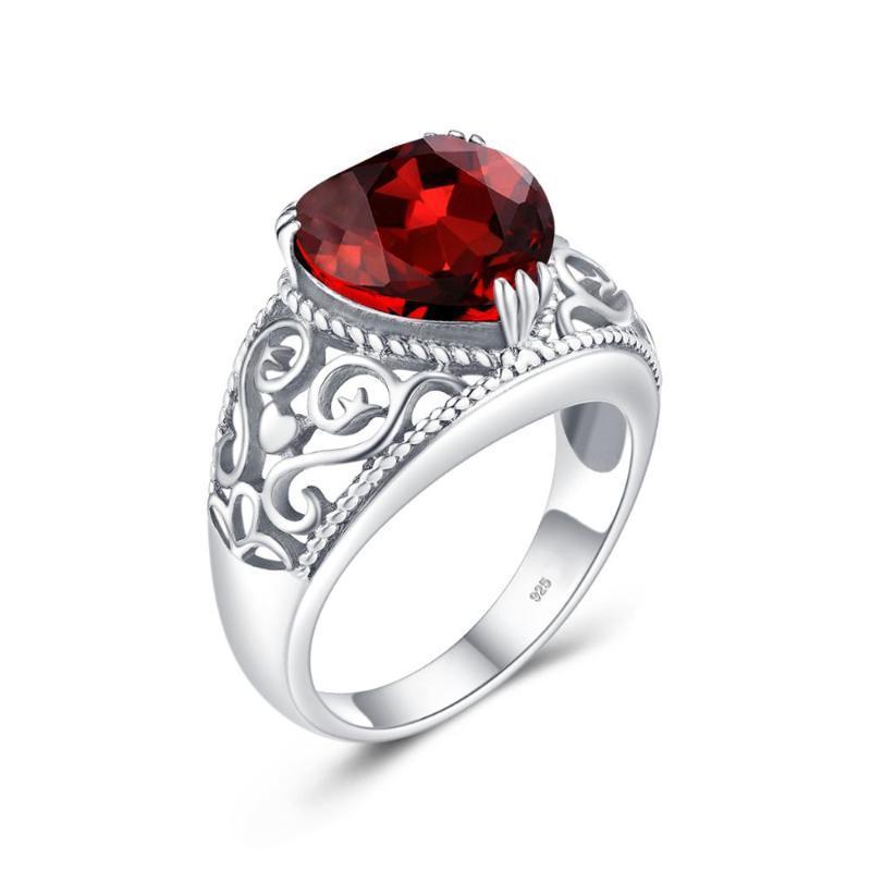 Anillos de plata para las mujeres genuino 925 Anillo de plata del corazón rojo granate piedras preciosas linda de la fiesta de joyería fina hecha a mano 2020