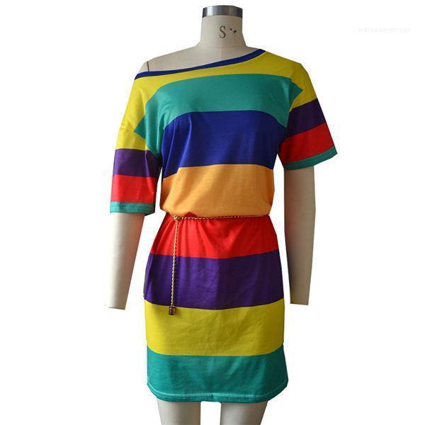 Ropa de la venta caliente mujeres del diseñador que raya del arco iris vestido de las mujeres del verano Mujer Camisa de manga larga más el tamaño de la mujer del vestido del diseñador