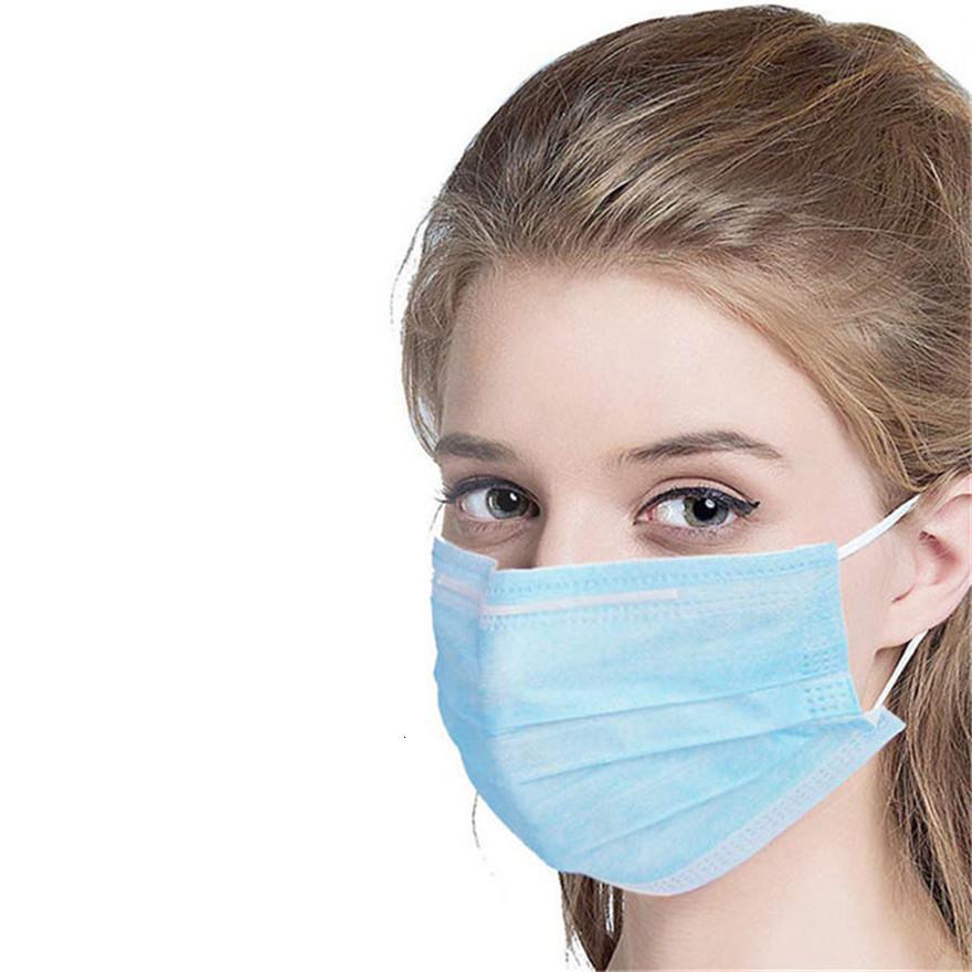 la cara de diseño máscara de capa 3 del oído de bucle máscaras de boca cubierta de polvo de 3 capas no tejidas desechables contra el polvo suave de la máscara transpirable parte exterior