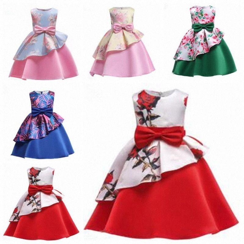 Ropa de los niños del tutú de la princesa del bebé del vestido del A-line del Bowknot Flores Vestidos estampados verano del vestido del partido sin mangas de los vestidos de la danza LT zLsC #