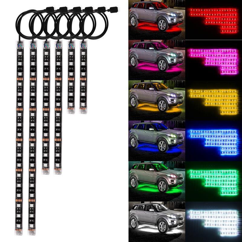 6pcs RGB Ses Kontrol Motosiklet LED Esnek Neon Şerit Lamba Seti SMD 72 LED Glow Işıklar