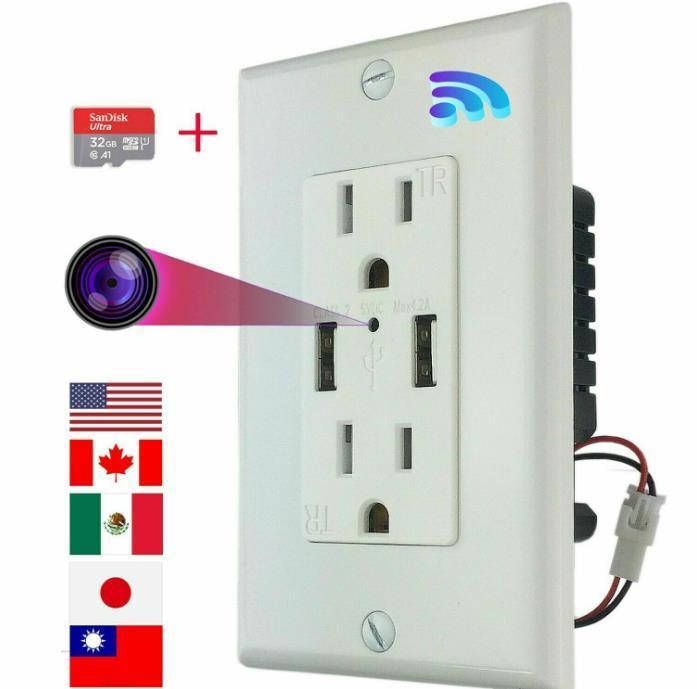 Socket Micro Monitor Hidden Nanny Cámara WiFi CA Cuenca de pared con tarjeta de memoria 32 g para la visualización remota