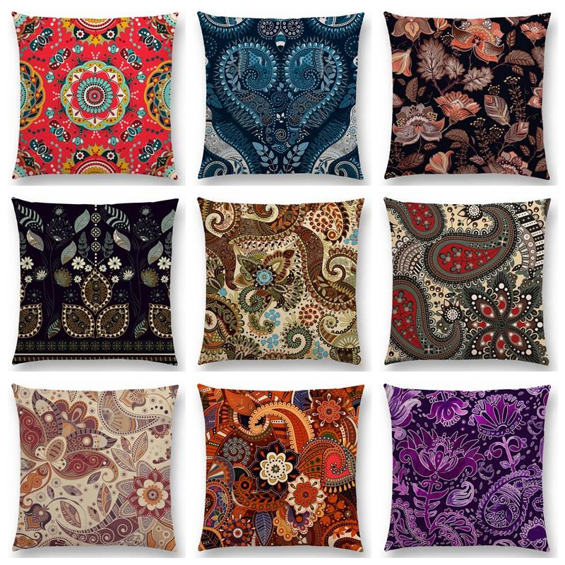 Paisley Mandala Decorative Pattern Flower Plants National Style Geometry Petal Leaf Colorful Cushion Cover Nice Pillow Case