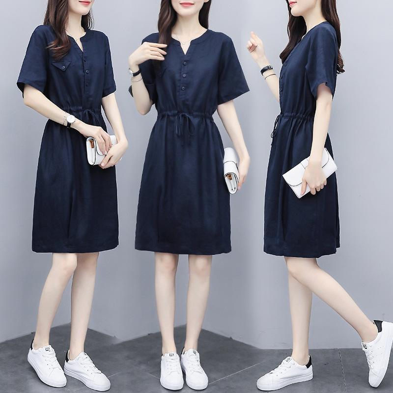 dz74P lin mi-longueur été 2020 nouvelle mode casual femmes robe longue jupe lacets mode robe minceur ceinture lâche