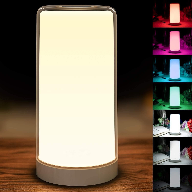 Lámpara LED táctil de noche la noche la luz de la lámpara de mesa de venta directa de fábrica Amazon nueva RGB luz ambiente colorido