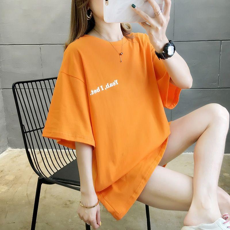 qrwm8 Cotone 2020 Estate maglietta studente T-shirt di lunghezza media girocollo a manica corta vestiti delle donne allentate delle donne nuovi tutto-fiammifero
