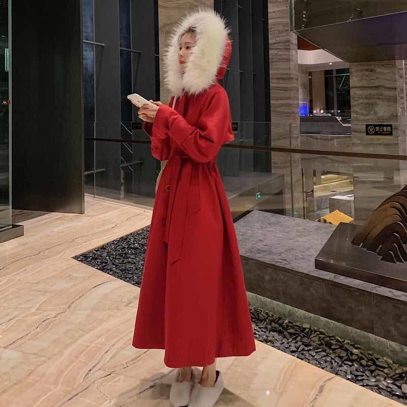HStar 여성 가을 겨울 턴 다운 칼라 롱 울 코트 여성 따뜻한 자켓 빈티지 여성 외투 캐주얼 Outwears T200814을 혼합