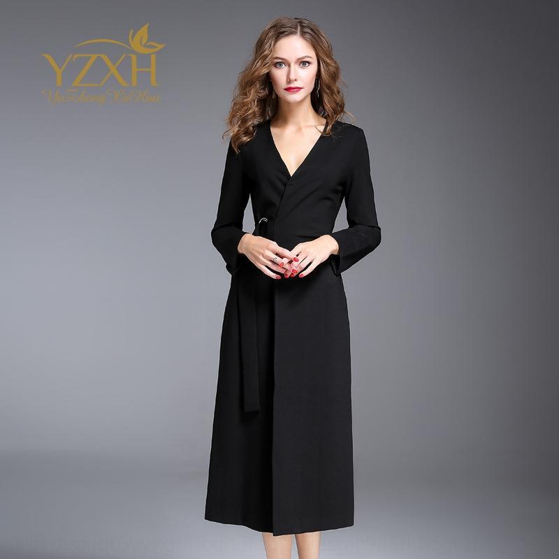 IpeJw 2K0qd femmes lacets col 2020V fendit mince coupe féminine 2020V col en forme lacets robe fendue robe mince