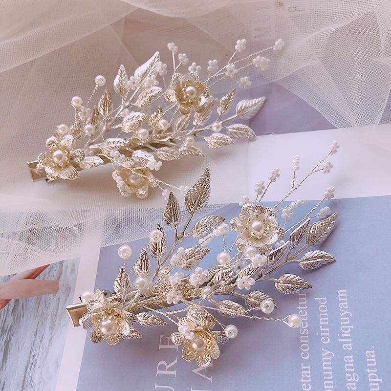 Gelin düğün headdress gümüş beyaz aksesuarlar el yapımı darı Düğün inci saç yaprağı 2 saç tokası Döşeme İnci setleri okL96