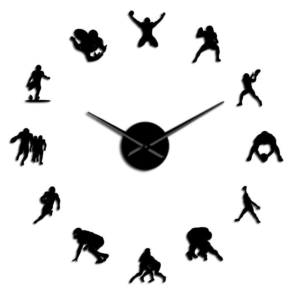 Boys Mirror Watch Giant Acrylic Room Effect Gift Decor Football For Frameless Needle Wall Clock American Clock Him Diy Rugby Big TvAOY