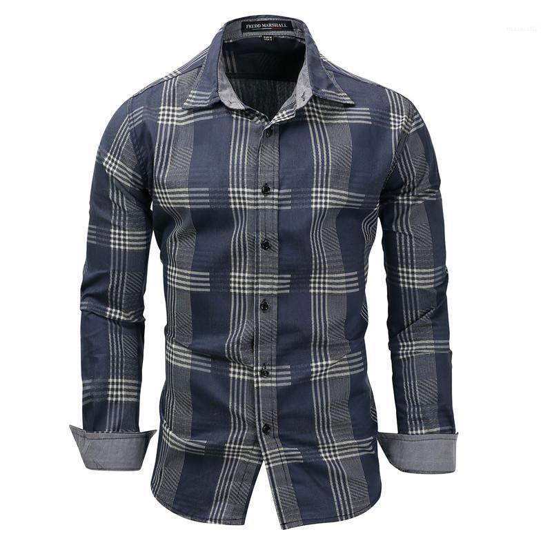 Gömlek Casual Ekose Baskılı Uzun Kollu Artı boyutu Yaka Boyun Tasarımcı Gömlek Erkek Jean Renk Casual Gömlek 2020 Yeni Erkek