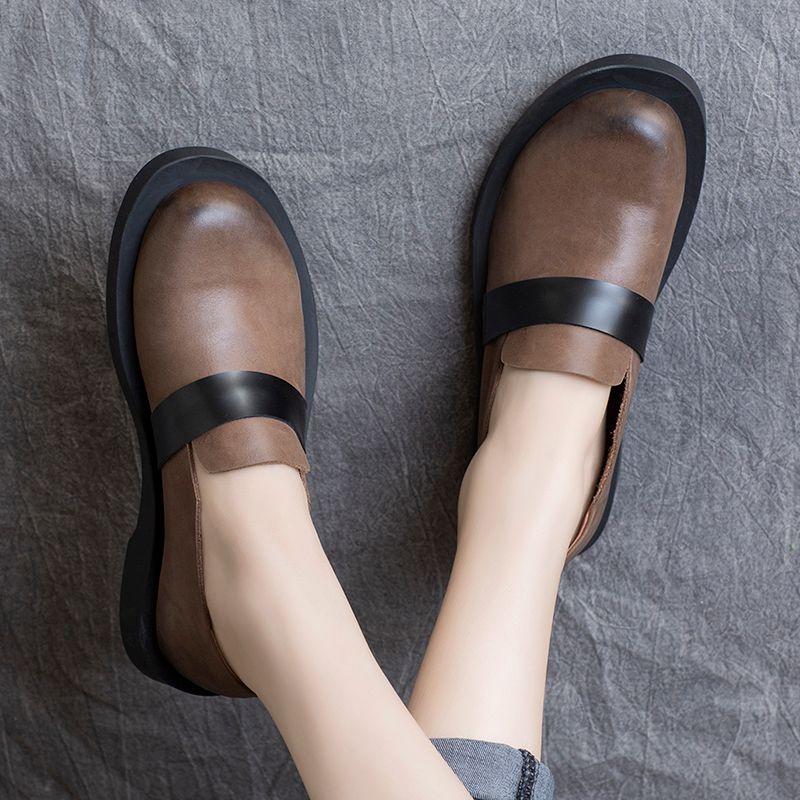 Женщины Мокасины Повседневная Кожа Черная обувь для женщин Весна Квартиры Низкие каблуки Мягкая Подлинная кожа ретро Flats ручной работы Марка