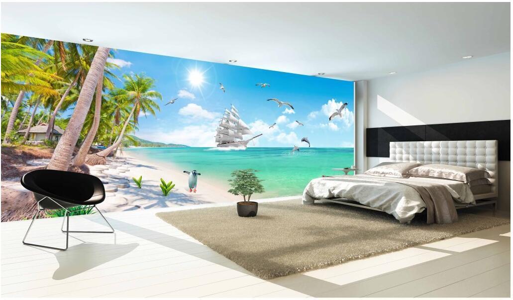 3d wallpaper foto costume de não-tecidos árvores murais mar de coco decoração em pintura murais de parede papel de parede 3D para paredes 3 d sala de estar