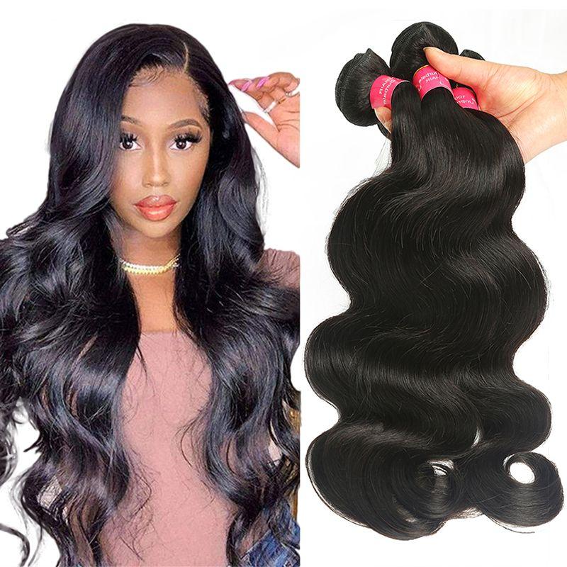 Горячие продажи бразильской волны тела волос 3 пакета 100% необработанные человеческие наращивания волос оптом 9А девственницы малазийского тела волос ткани