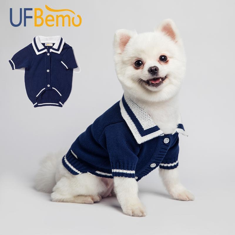 UFBemo Dog Sweater Cat Jersey Chien Bekleidung Cardigan Pullover für Small Medium Dogs Chihuahua Christmas Puppy Navy Winter Baumwolle