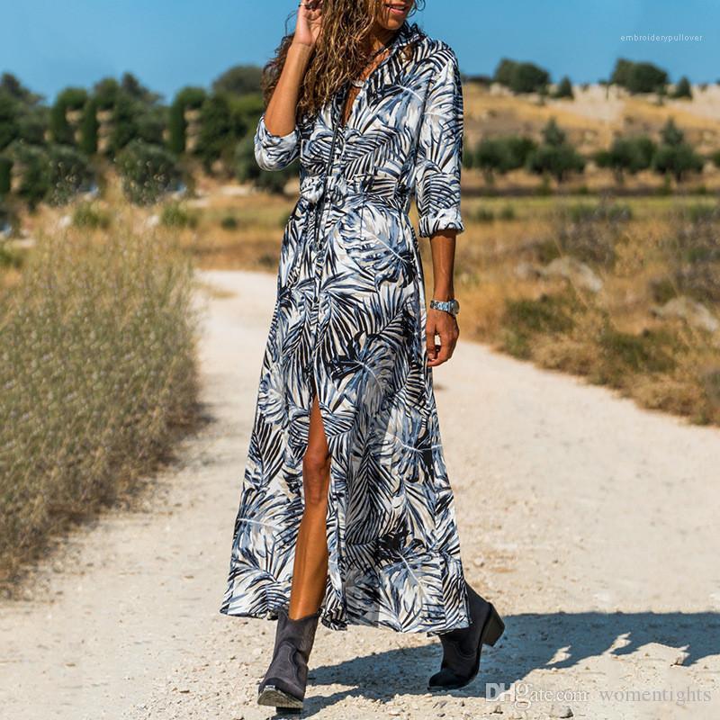 Kruvaze Bayan Tasarımcı Gömlek Elbise Günlük Dişiler Giyim Bohem Tarzı Günlük Elbiseler Moda Kasetli Tek yazdır Womens