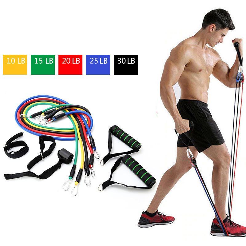11 conjuntos de dispositivo de tensión Tpe multifuncional cuerda de tensión, una palabra Cinturón de Yoga entrenamiento de los músculos aptitud del equipo del kit