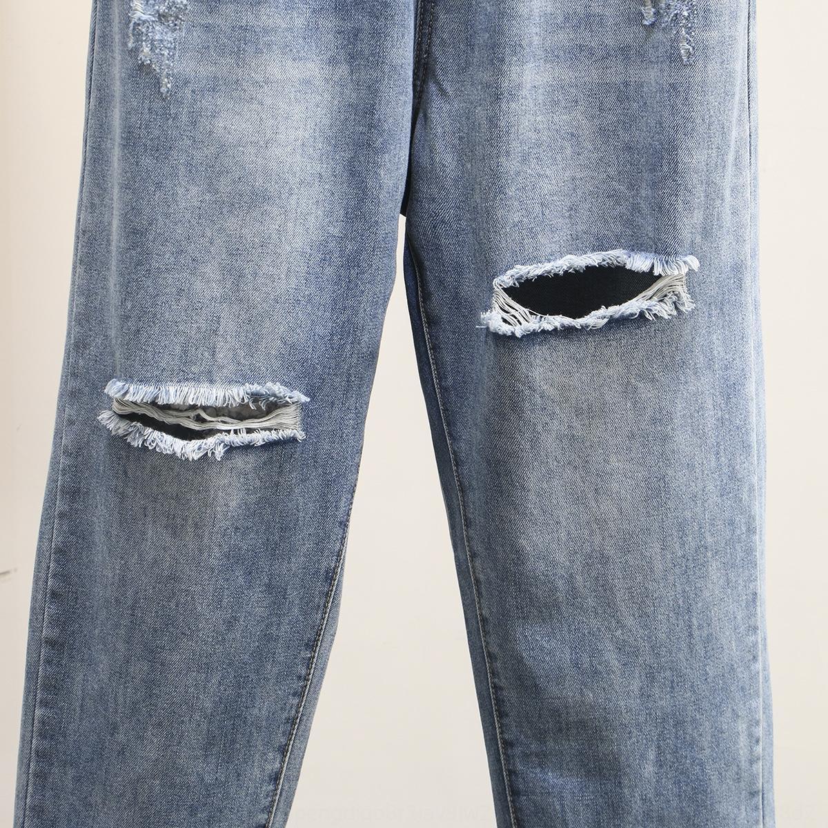 UZcmF осень Новый корейский стиль 200кг жира ММ ПОХУДЕНИЯ отверстие джинсовой прямые осенние новые модные брюки плюс жирный плюс размер женщин моды 6426