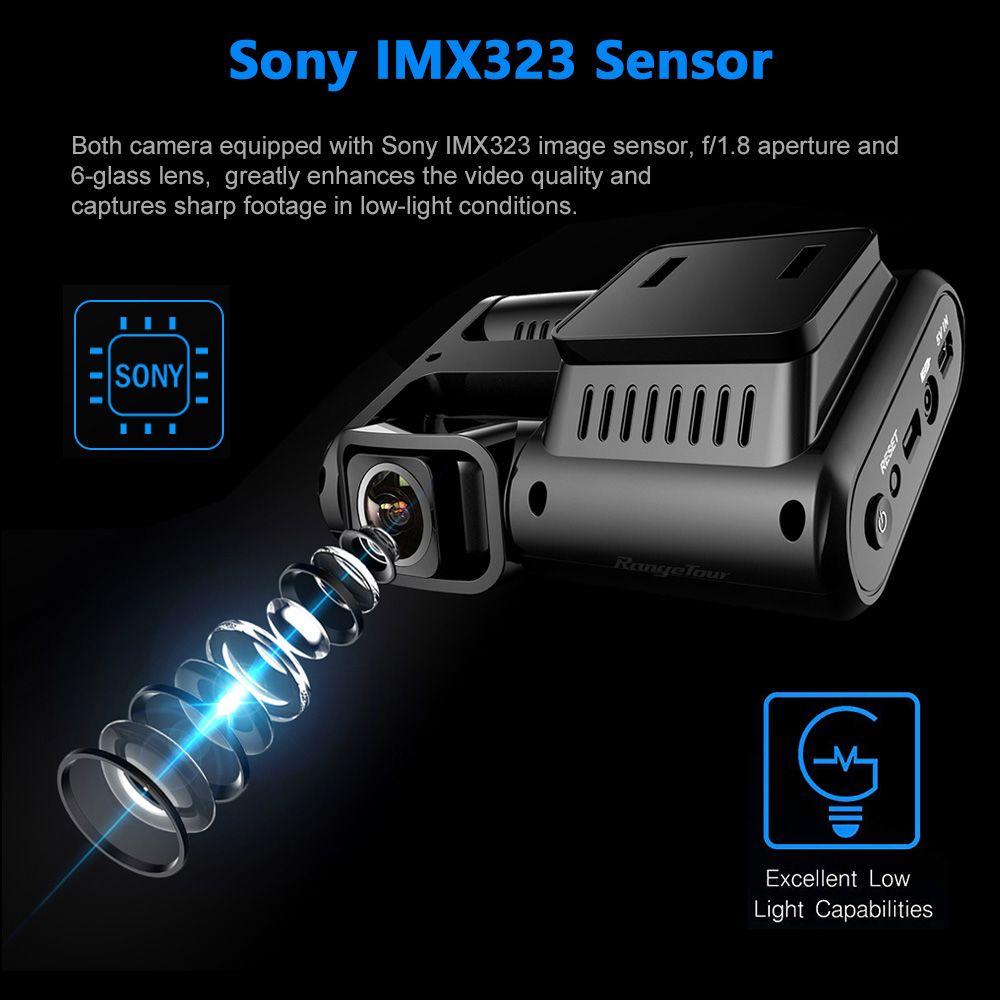 Freeshipping 4K 2160P WIFI GPS Logger Dual Lens Car DVR 96663 Chip Sony IMX323 Sensor Night Vision Dual Camera Dash Cam Recorder D30H