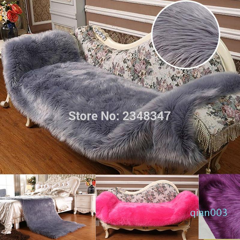 Lunga pelliccia artificiale di pecora rettangolo Fluffy sede della sedia Sofa Cover Carpet Mat coperta di zona camera da letto della decorazione della casa Grigio Camel Rosa
