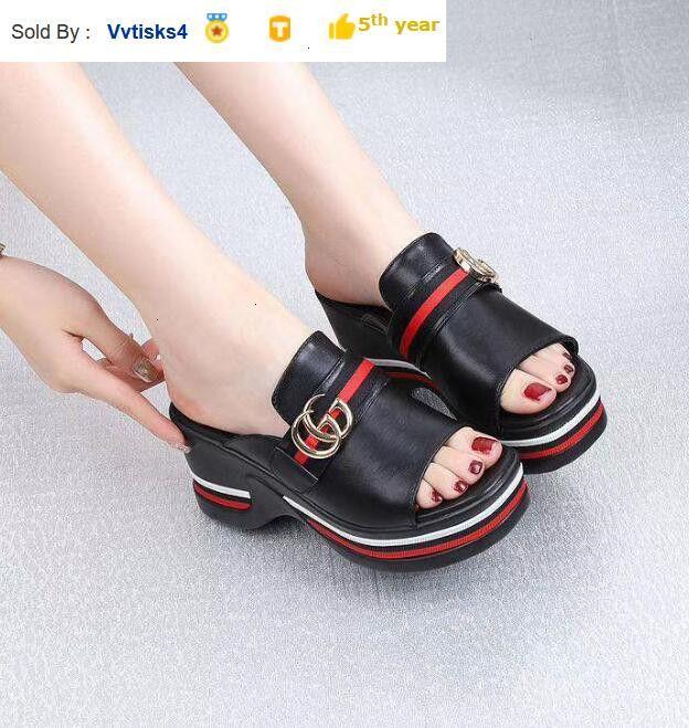 Hot fashion women shoes flat high heels slippers Casual Handmade Walking Tennis Sandals Slippers Mules Slides Thongs