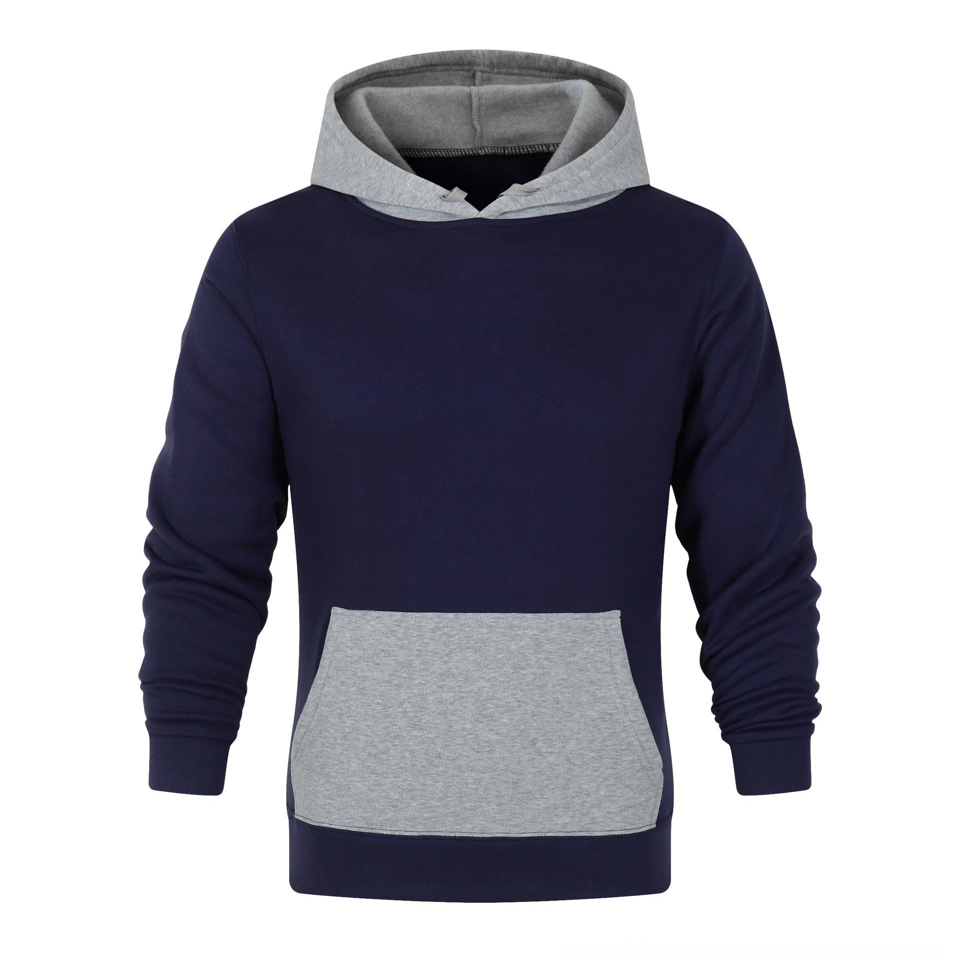 Color del contraste del color sólido 441gr de los hombres con capucha en blanco otoño de ropa deportiva ropa deportiva suéter con capucha de impresión DH1Yq
