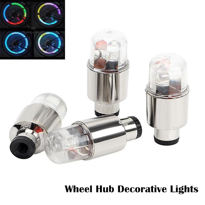 4pcs Roda de carro Caps Decoração Carros Luz para bicicleta de pneu Hub Lâmpada motocicleta LED Deco do pneu da roda Válvula Caps Auto Carros Acessórios