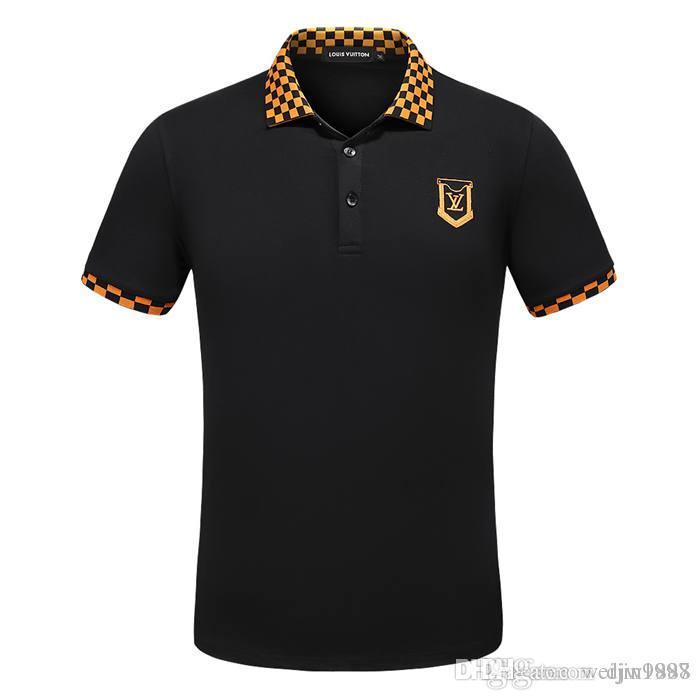 NEW Mens Polos Весна / Лето Новая мода Polo Top Футболка Мужская рубашка поло Рубашка High Street Мужская Stripe Cotton Polo Sh