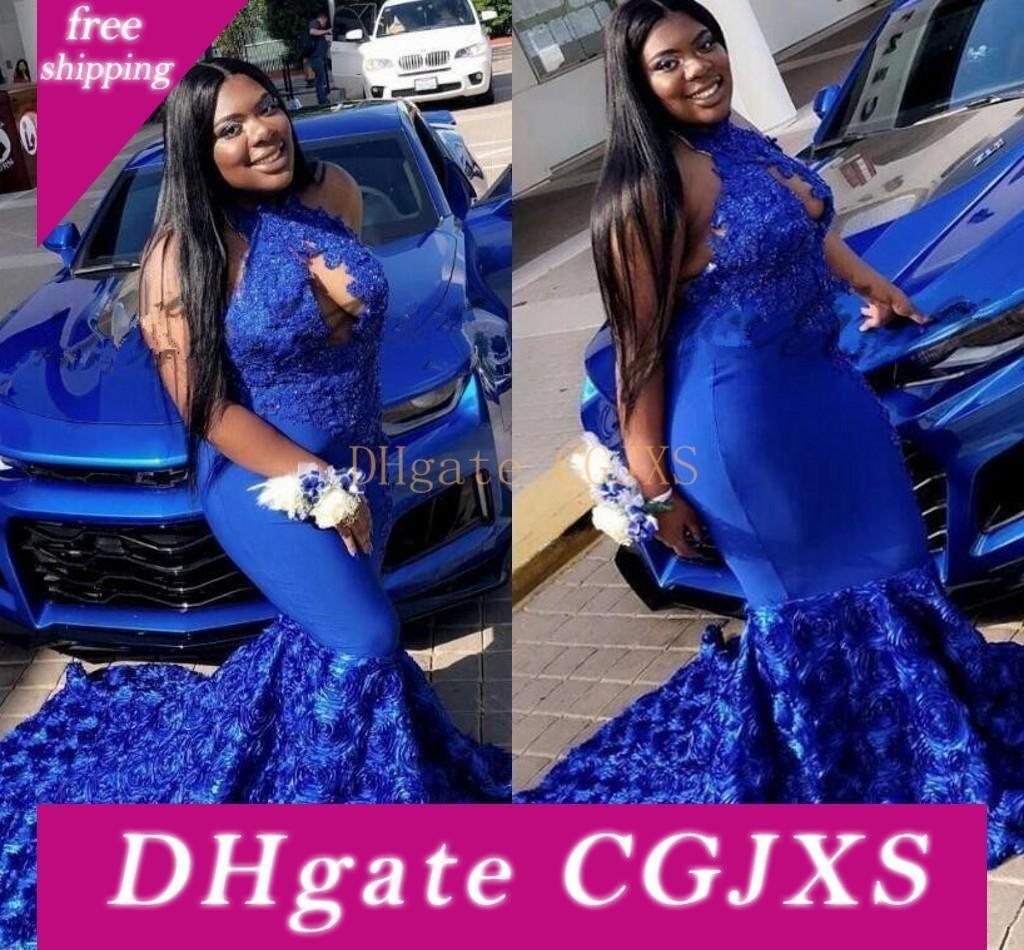2019 New Royal Blue Русалка Пром платье с 3D Rose Flowers Дубай партия платье особого случай платье Black Girl Pageant Evening Gowns2019
