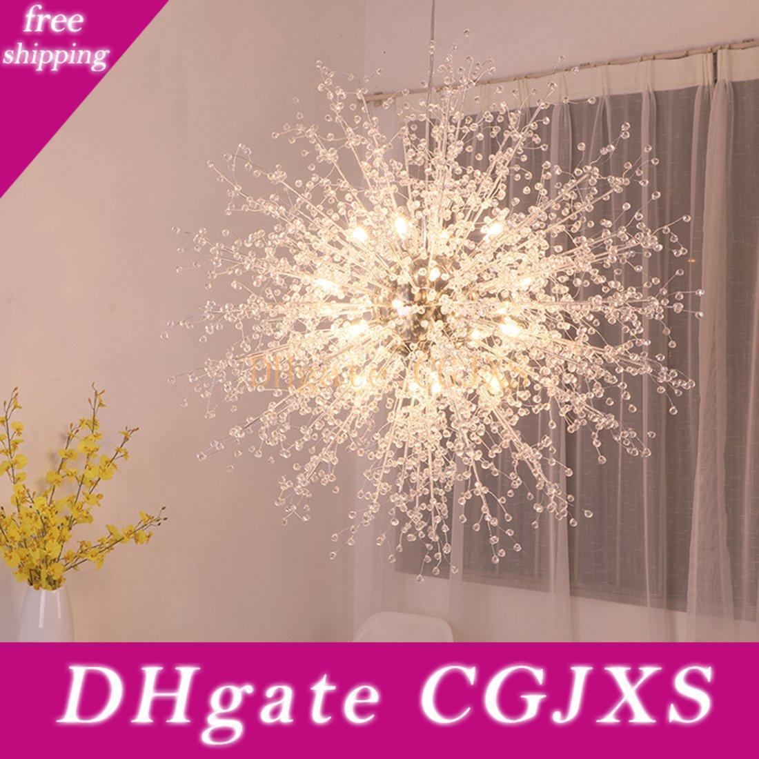 Aço inoxidável moderna Lustres Firework Led Light Crystal Pendant iluminação LED Globe Sala Sala de Jantar Cozinha Com G4 bulbos