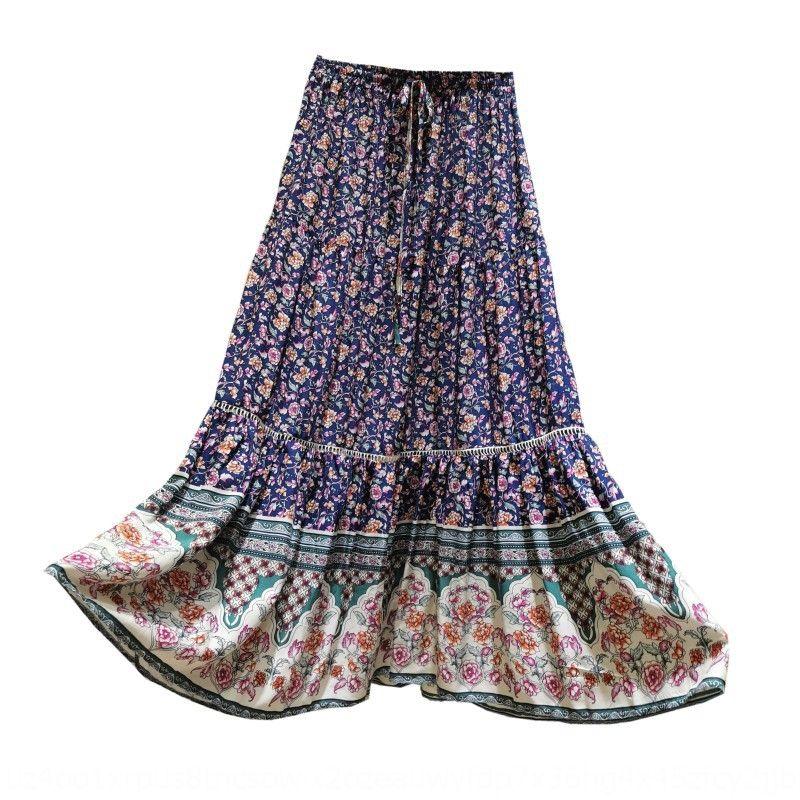 Sommer und Herbst neuer elastische Taillen Schnür-Schlankheits hohle Blumen gedruckt Nationalfeiertag Urlaub Rock ethnischer Stil langen Rocks