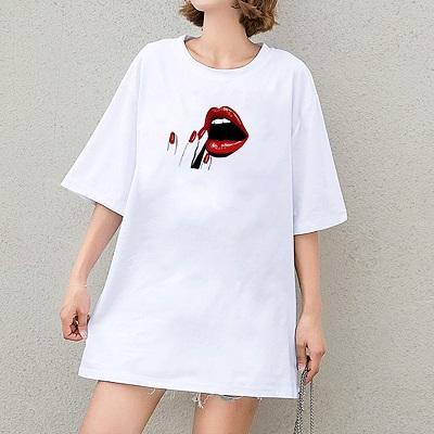 2020 Yaz DIY Tişörtler Kızlar Seksi Kırmızı Dudaklar Tişörtler Kadın Kırmızı Parmak Desen Baskı Lady Tees Nefes Moda Kısa Kollu Tops