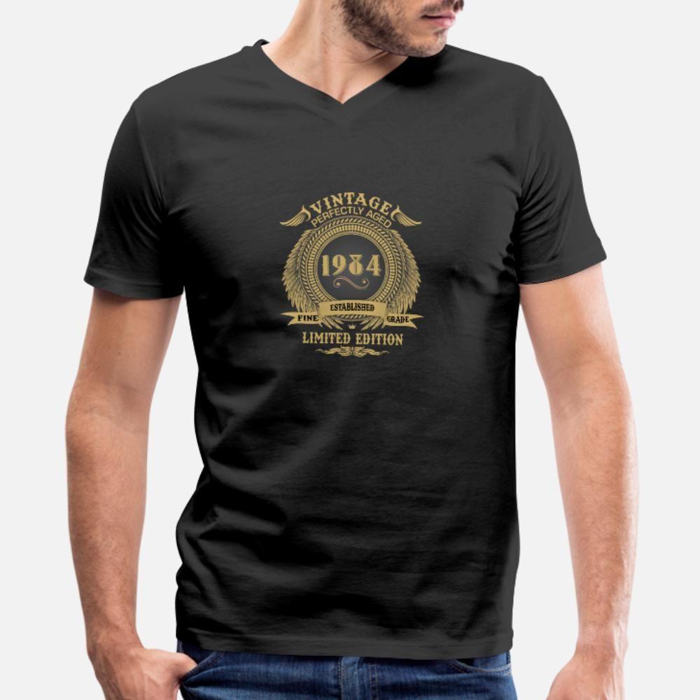 Vintage envelhecido perfeitamente 1984 Limited Edition camiseta homens impressa de manga curta O-Neck Tendência Sunlight Casual camisa estilo verão fresco