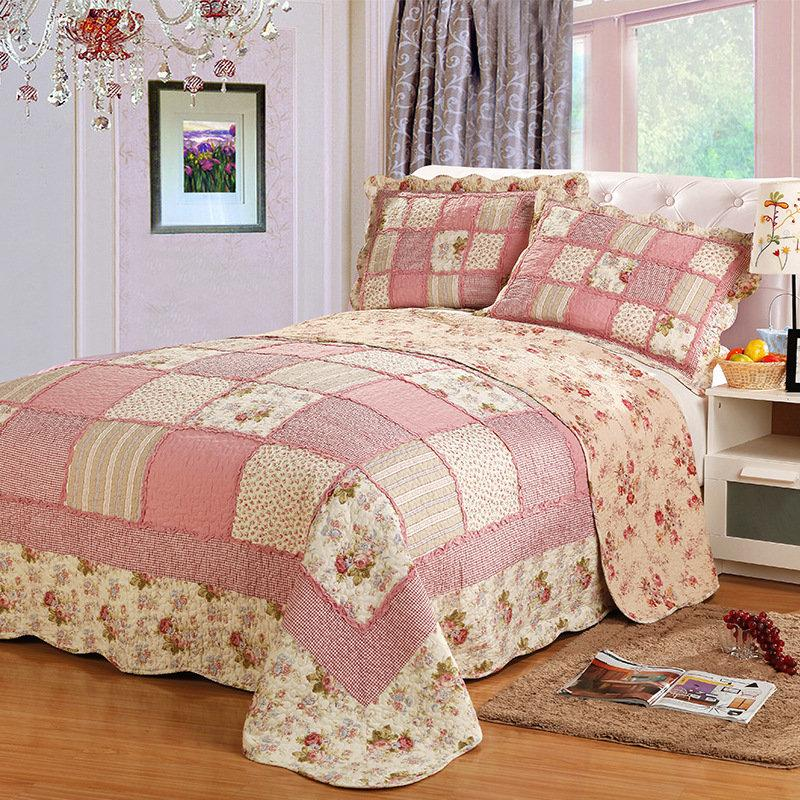 Korea Plaid Cotton Bed Cover Patchwork Bedspread Quilted Queen Double Air Conditioning Summer Quilt Set Coverlet Blanket 3 Pcs T200901