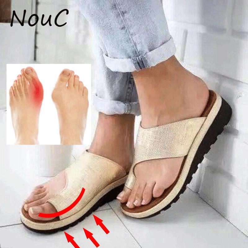 NouC Frauen PU-Leder-Schuhe bequeme Plattform flache Sohle Damen Freizeit weiche große Zehe Fuß Korrektur Sandale Orthopädische Bunion Richtige Y200620