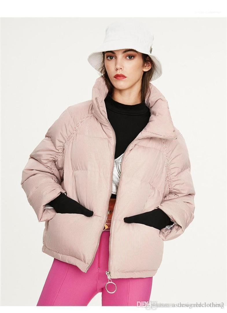 Şort Stiller Ekmek Coats Genç Günlük Kış Ceket Moda Çizgili Desen Kadın Parkas Designer Womens Tops