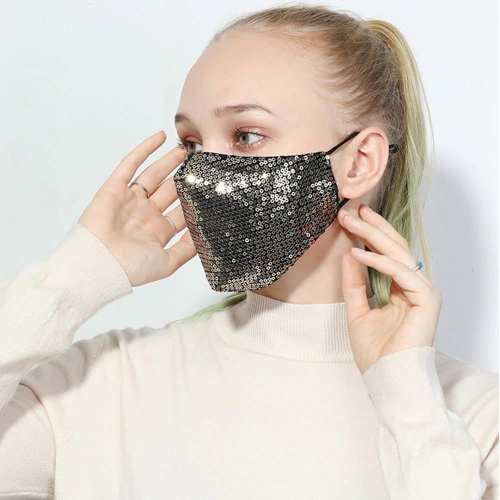 PM2.5 Poeira Cotton Lantejoula Moda Anti Bling-bling Glitter Boca-de mufla Máscara capa lavável reutilizável Meia cara para o partido Unisex