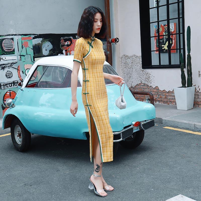 Vêtements ethniques Style Oriental Plaid Retro Cheongsam Chine Robes Longues Qi Pao Femmes Chinoise Traditionnelle Orientale Daily Robe quotidienne Qipao
