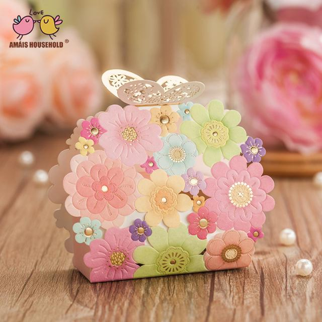 Hot Sale New Laser hollow butterfly buckle 50ps Laser Design Candy Box, Wedding Gift Bags, Candy and Gift Boxes