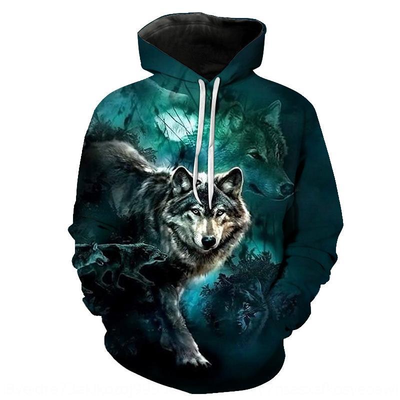 yHRa3 Herrenbekleidung Wolf Digital Paar Feder Pullover mit Kapuze 3D gedruckt Pullover Hoodie Sports lose Hoodie
