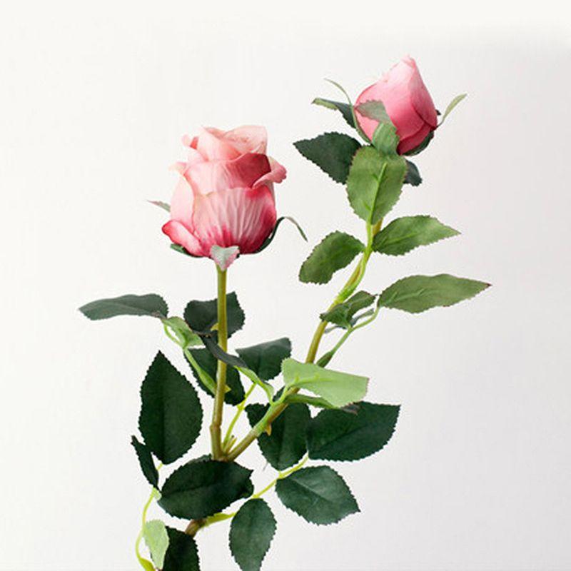 Falso 2 Cabeza de flores artificiales de Rose de la decoración DIY retro de flores de tela de colores para la boda Inicio 66cmParty Salón Jardín