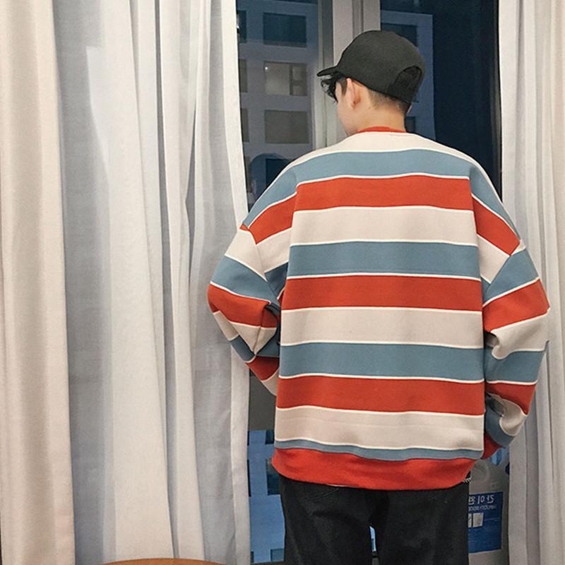 Осень и зима полосатые футболки футболки свитер мужской длинный рукав Корейский стиль модный красивый свитер мужские ины Интернет знаменитости ленивые S