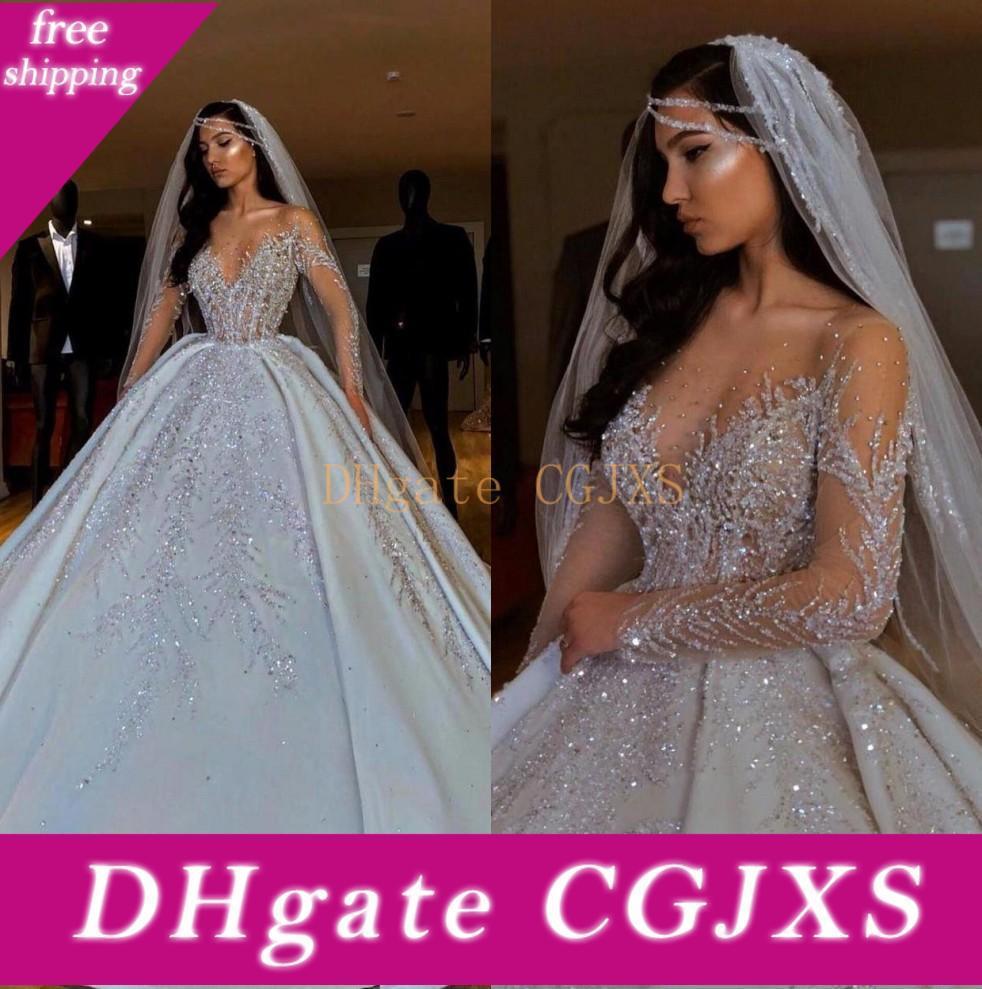 Роскошные Arabic Sheer Длинные рукава атласная бальное платье свадебные платья 2020 вышитый бисером кристаллы Ruched Часовня Поезд Свадебные платья Cph044