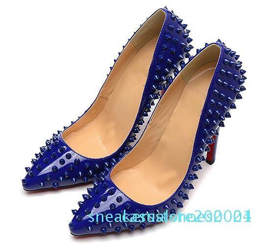 2019 HOTS manera de la tapa superior de la manera zapato de las mujeres del diseñador de lujo rojos de tacón alto inferiores rojos de cuero negro Desnudos pies en punta Bombas zapatos de vestir c24