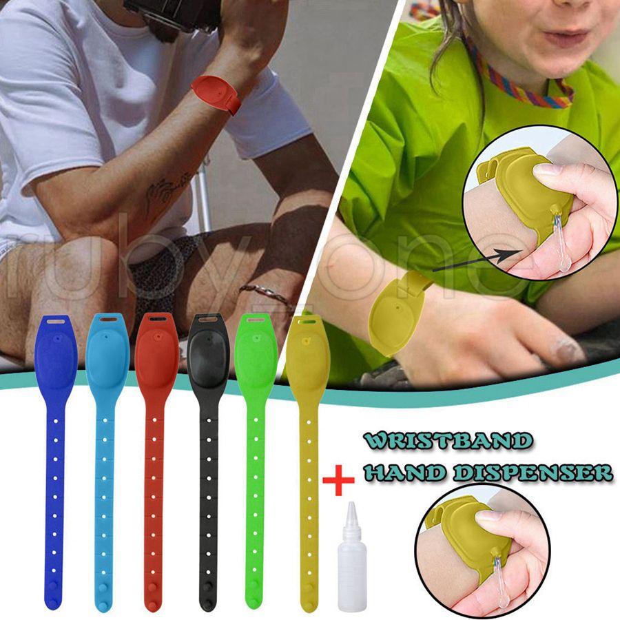 Desinfectante para las manos de silicona recargable pulsera de jabón líquido a mano pulsera dispensador del desinfectante Wearable Sanitizering dispensador de gel Holder RA3509