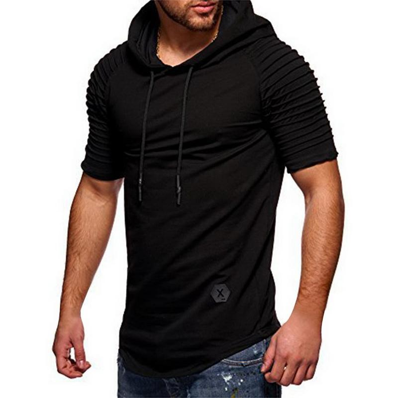 LOOZYKIT Männer-T-Shirt 2020 Sommer-Art- und Kapuze Sling Kurz-Hülse T Männer-T-Shirt dünne Male Tops Camisa Masculina Plus Size 3XL
