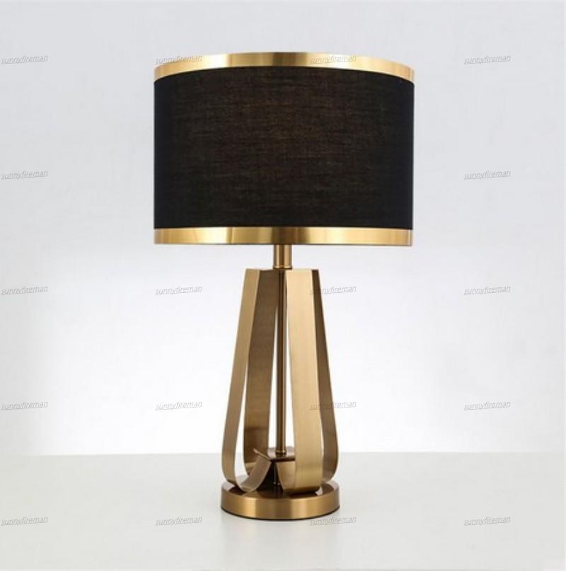 abajur preto candeeiro de mesa elegante do ouro nórdico para o design de escritório quarto sala deco mesa lâmpadas luminária LED de metal tecido