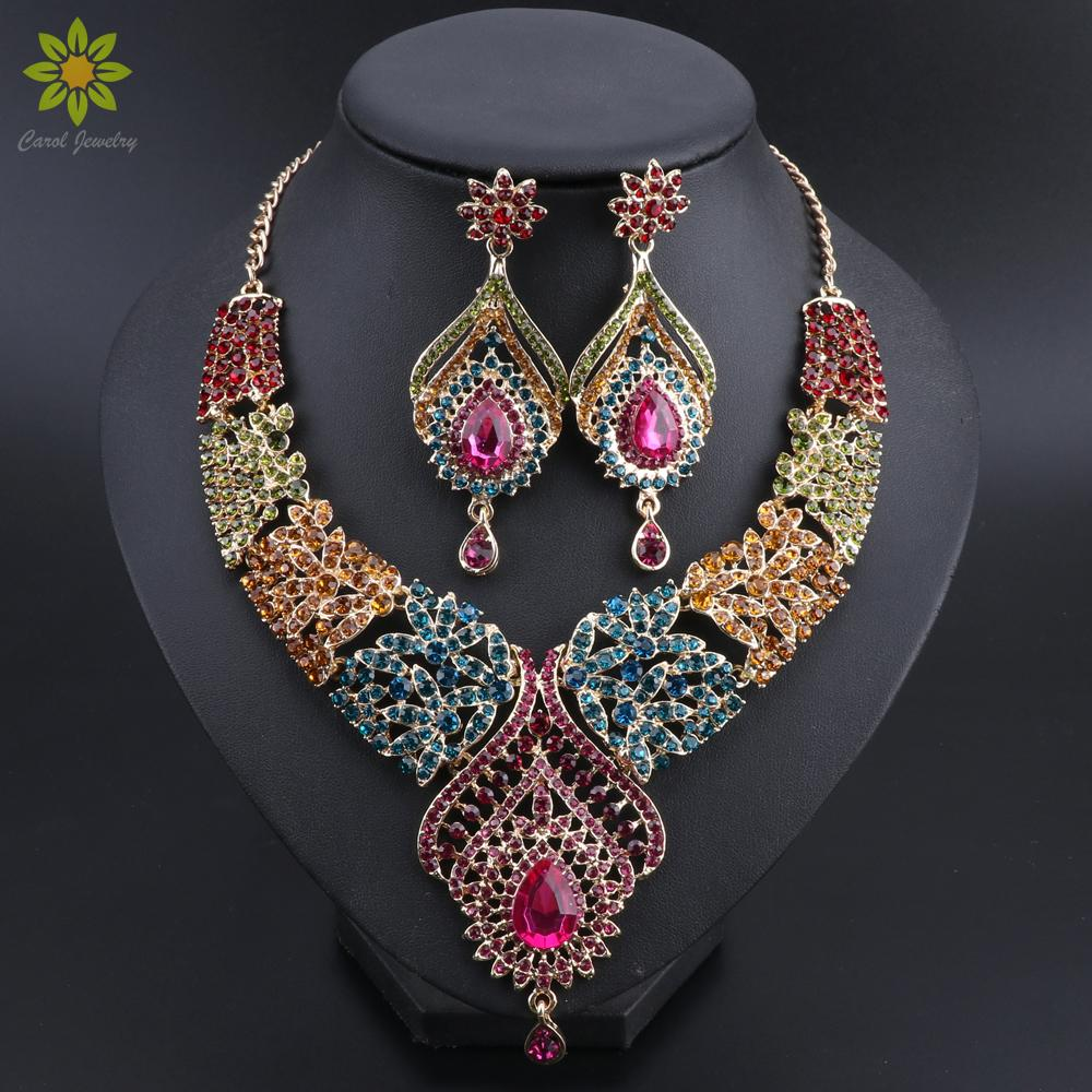Горячие продажи золота Цвет Многоцветный Кристалл Стразы перо формы ожерелье серьги African Bridal комплекты ювелирных изделий CX200808