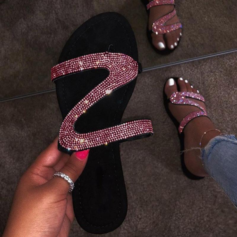 Plana chinelos com Bling Pedrinhas Moda Deslizamento-na rasos Flat Shoes Casual Ladies Outdoor Beach Holiday Slipper Flip Flops